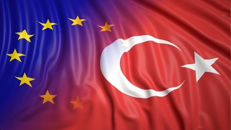 closeup: Close-up of Turkish and EU flags
