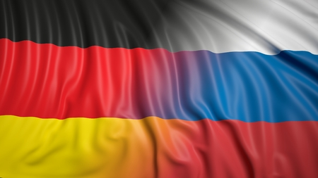 hostility: Close-up of Russian and German flags