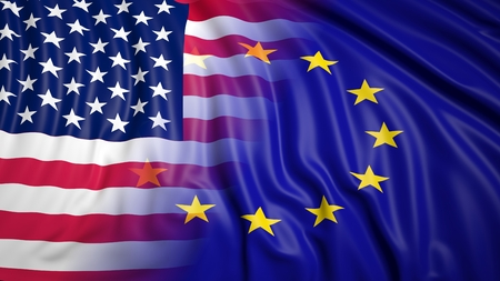 coalition: Close-up of American and EU flags