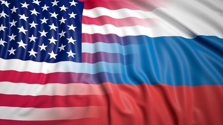 coalition: Close-up of Russian and American flags Stock Photo