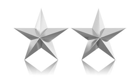 silver stars: Two silver stars isolated on white background