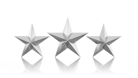 silver stars: Three silver stars isolated on white background