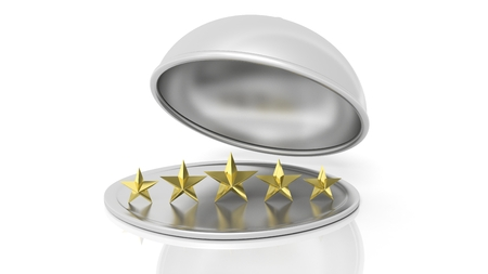 dome: Five golden stars on silver plate with dome cover,isolated on white background