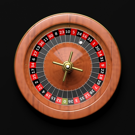 wager: Roulette wheel on black background.From above Stock Photo