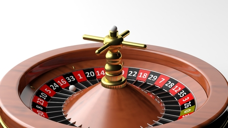 wager: Close-up of roulette wheel on white background