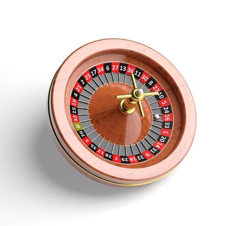 ardour: Roulette wheel on white background.Isolated Stock Photo