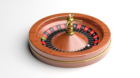 luck wheel: Roulette wheel on white background.Isolated Stock Photo