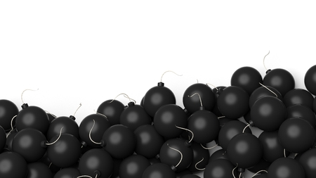 outburst: Illustration of heap of black bombs on white background Stock Photo