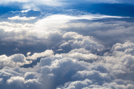 fluffy clouds: Fluffy storm clouds, aerial photography.