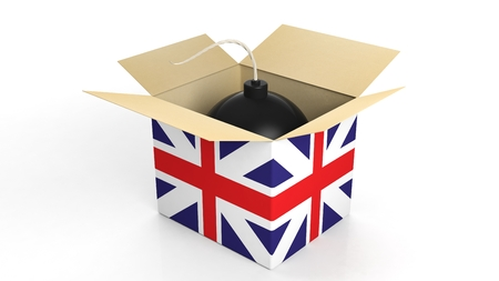 terrorism crisis: Bomb in box with flag of UK, isolated on white background. Stock Photo