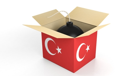 crisis: Bomb in box with flag of Turkey, isolated on white background. Stock Photo