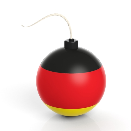 cannonball: Cannonball bomb with flag of Germany, isolated on white background.