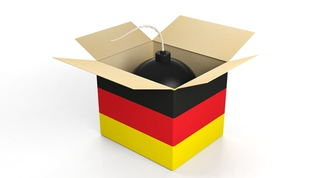 terrorism crisis: Cannonball bomb with flag of Germany, isolated on white background.