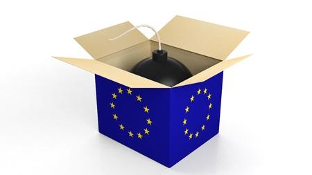 terrorism crisis: Bomb in box with flag og EU, isolated on white background.