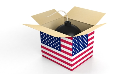 risk of war: Bomb in box with flag of USA, isolated on white background. Stock Photo