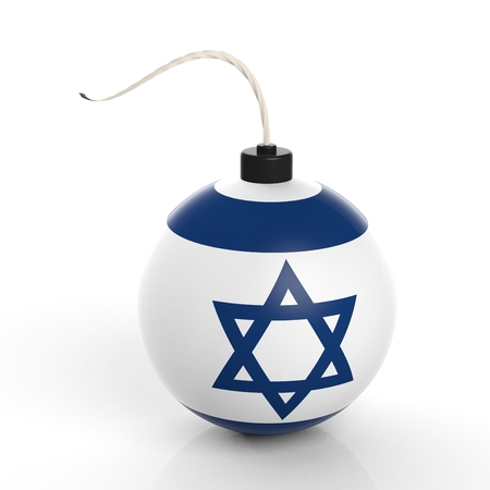 israel war: Cannonball bomb with flag of Israel, isolated on white background.