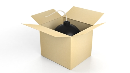 explosives: Black cannonball bomb in a box, isolated on white background. Stock Photo