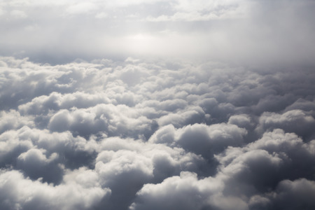 cloud formation: Fluffy storm clouds, aerial photography.