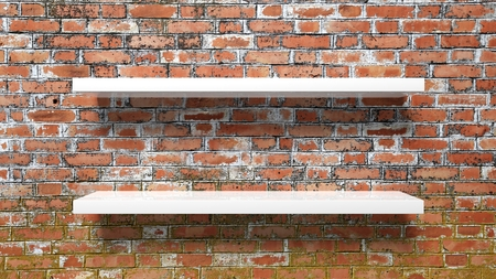 shelf wall: Two empty white wall shelves on red brick wall. Stock Photo