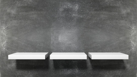 three shelves: Three small empty shelves on blackboard background.