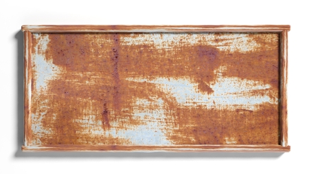 blank sign: Old rustic metal sign post,isolated on white background. Stock Photo