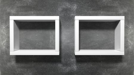 shelf: Two empty frame shelf on blackboard background. Stock Photo