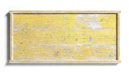 Blank painted yellow weathered sign post,isolated on white background.