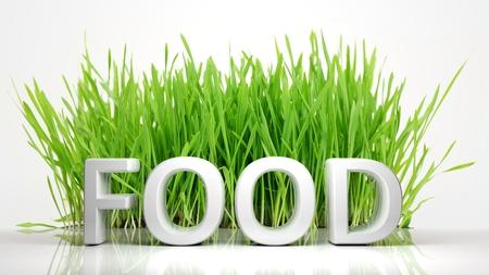 Erba verde con testo di alimento 3D, isolato su sfondo bianco. Archivio Fotografico