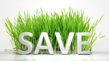 ecological problem: Green grass with Save 3D text, isolated on white background.