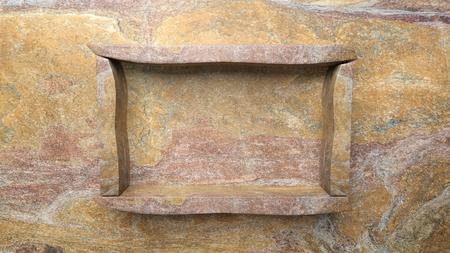 the shelf: Empty frame stone shelf on stone wall.