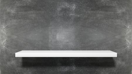 white shelf: Empty white shelf on blackboard background.