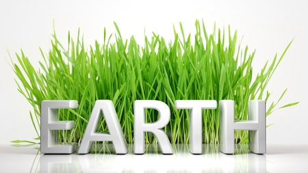 ecological problem: Green grass with Earth 3D text, isolated on white background.