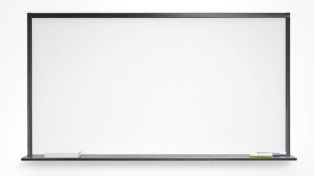 white board: White blackboard on white background. Isolated Stock Photo