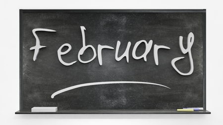 february: February written on blackboard