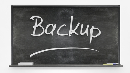 back up: Back up written on blackboard