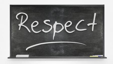 respetar: el respeto por escrito en la pizarra