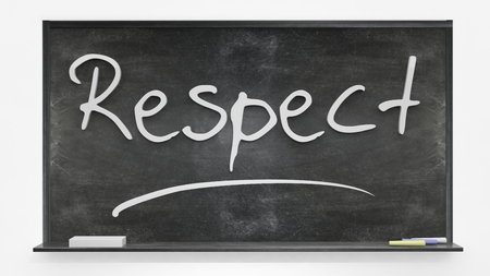 written: respect written on blackboard