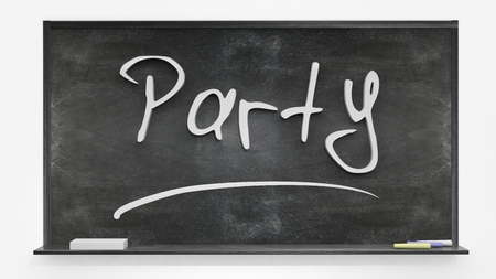 written: Party written on blackboard