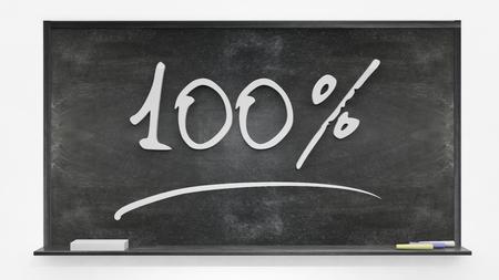 written: One hundred per cent written on blackboard Stock Photo