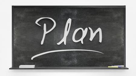 written: Plan written on blackboard Stock Photo