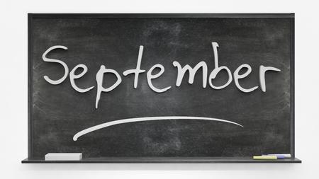 september: September written on blackboard