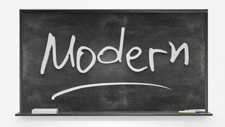 written: Modern written on blackboard