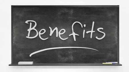 written: Benefits written on blackboard