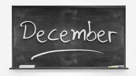 december: Diciembre escrito en la pizarra