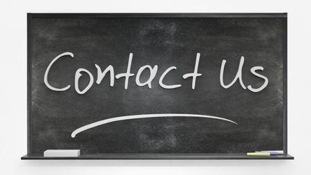 comunicación escrita: Póngase en contacto con nosotros por escrito en la pizarra Foto de archivo