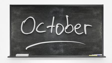 written: October written on blackboard