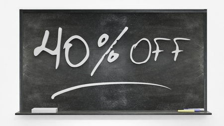 per cent: Fourty per cent off written on blackboard Stock Photo