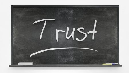 reliance: Trust written on blackboard