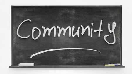 written: Community written on blackboard