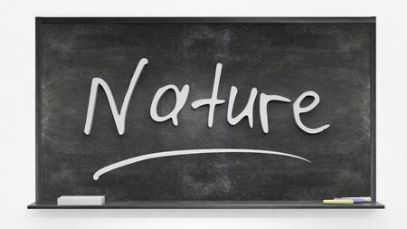 written: Nature written on blackboard